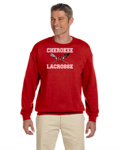 "Load image into Gallery viewer, Item CHS-LAX-201 - Gildan Crew Neck Sweatshirt-UNISEX- Cherokee ""C"" Lacrosse Logo"