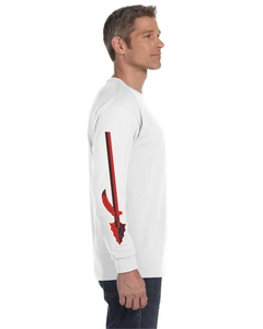 Item CHS-WIDE-516-1-White - Gildan Adult 5.5 oz., 50/50 Long-Sleeve T-Shirt - Fear of the Spear Logo