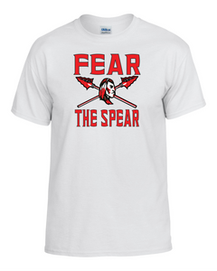 Item CHS-Wide-517-7 - Gildan Adult 5.5 oz., 50/50 T-Shirt - Fear the Spear- Warrior Cross Spear Logo