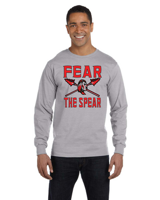 Item CHS-TRK-518-7 - Gildan Adult 5.5 oz., 50/50 Long-Sleeve T-Shirt - Fear the Spear - Warrior Cross Spear Logo