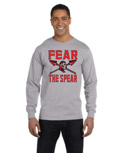 Load image into Gallery viewer, Item CHS-Wide-518-7 - Gildan Adult 5.5 oz., 50/50 Long-Sleeve T-Shirt - Fear the Spear - Warrior Cross Spear Logo