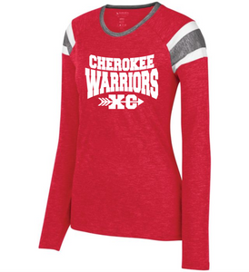 Item CHS-XC-542-4 - Augusta Ladies Long Sleeve Fanatic Tee - Cherokee Warriors XC Logo