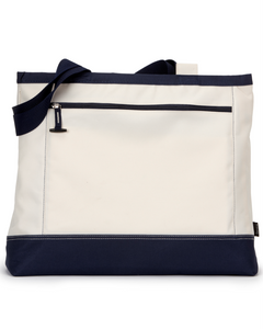 Item RR-FB-982- Gemline Utility Tote-Navy/Natural-River Ridge KNIGHTS Logo