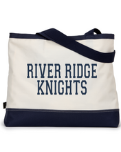 Load image into Gallery viewer, Item RR-FB-982- Gemline Utility Tote-Navy/Natural-River Ridge KNIGHTS Logo