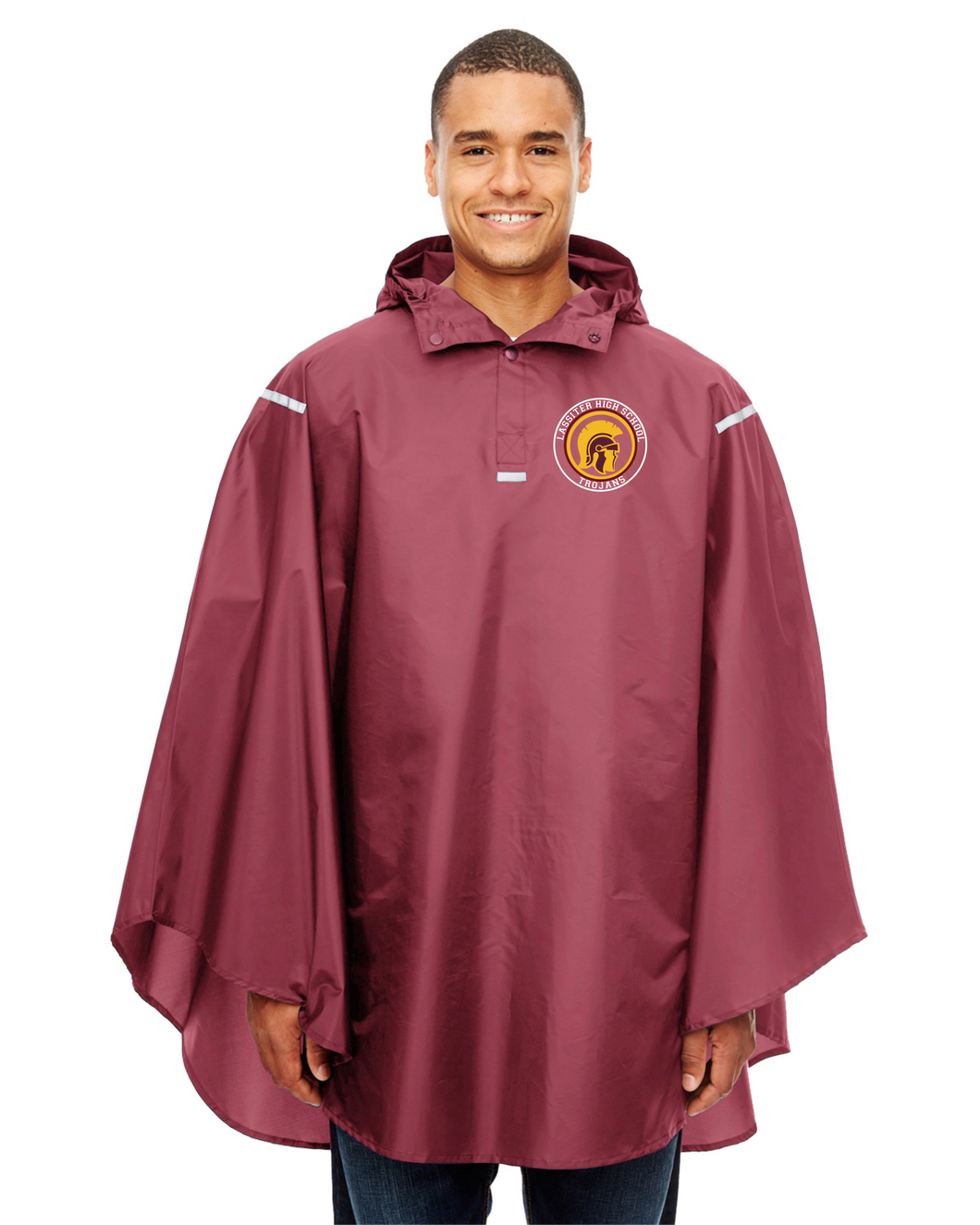 Item LAS-FB-460-2 - Team 365 Adult Zone Protect Packable Poncho - Lassiter Trojan Logo