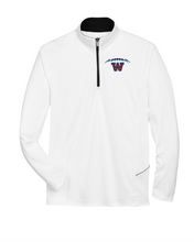 Load image into Gallery viewer, Item WW-FB-107-5 - UltraClub Cool & Dry Sport Quarter-Zip Pullover - Football Laces Logo