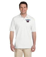 Load image into Gallery viewer, Item WW-FB-502-3 - Jerzees Adult 5.6 oz. SpotShield™ Jersey Polo - Football Laces Logo