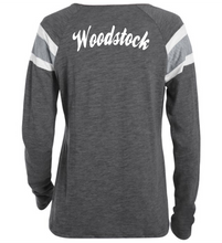 Load image into Gallery viewer, Item WW-FB-542-10 - Augusta Ladies Long Sleeve Fanatic Tee - Laces Wolverine & Woodstock Script Logo