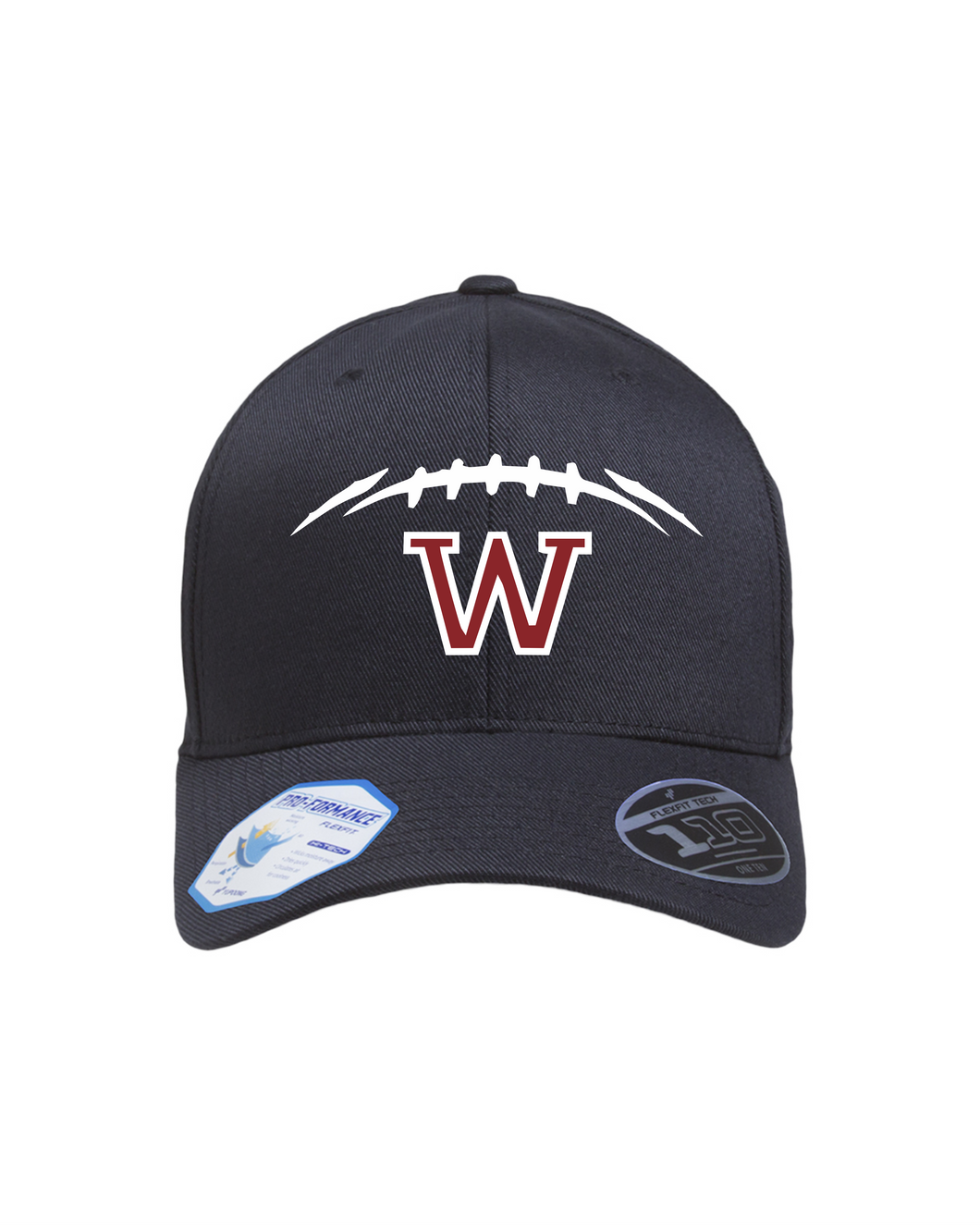 Item WW-FB-903-5 - Flexfit Adult Cool and Dry Tricot Cap - Football Laces Logo