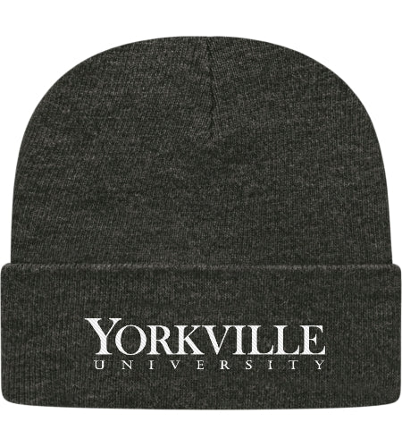 YU DARK HEATHER GREY TOQUE WITH CUFF