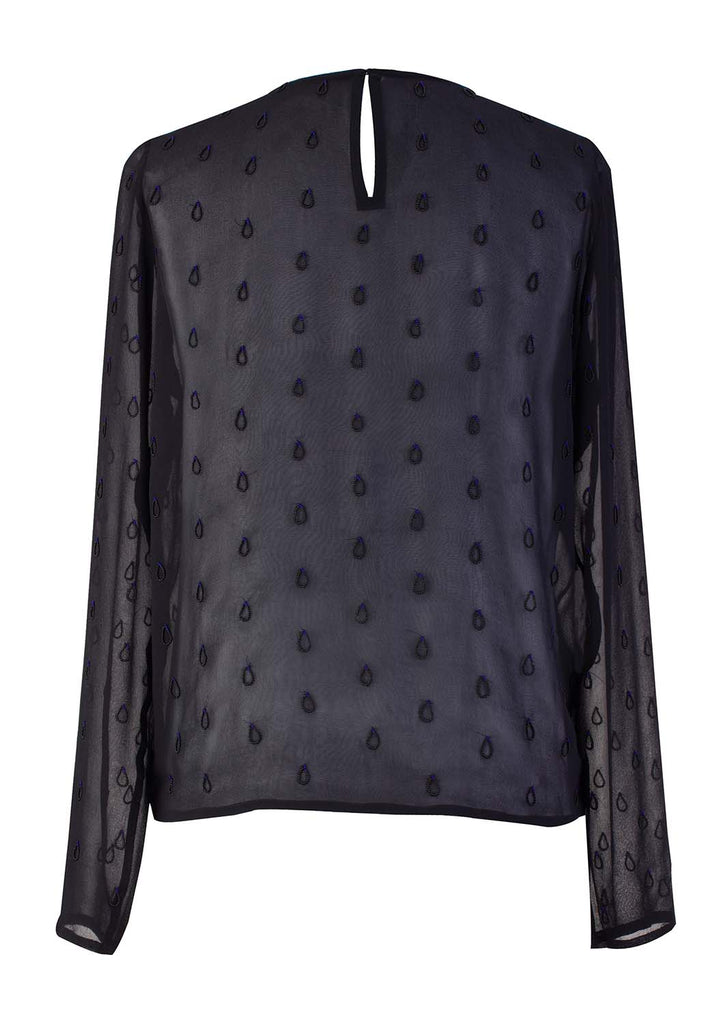 Silk Drops Embroidery Top - Black