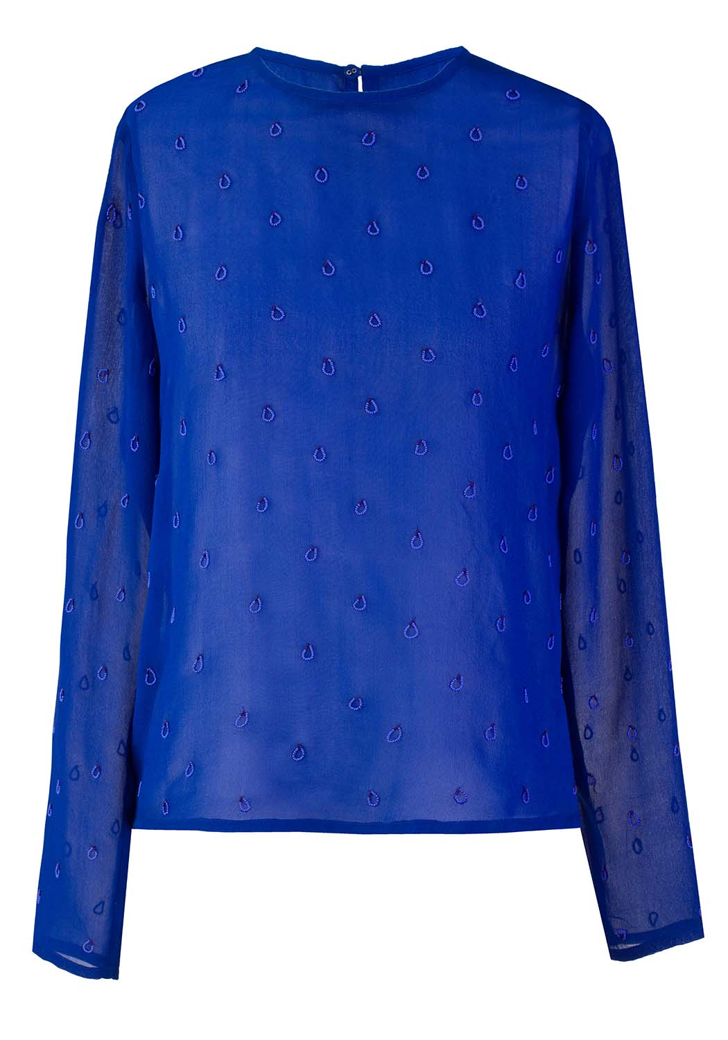 Silk Drops Embroidered Top - Blue