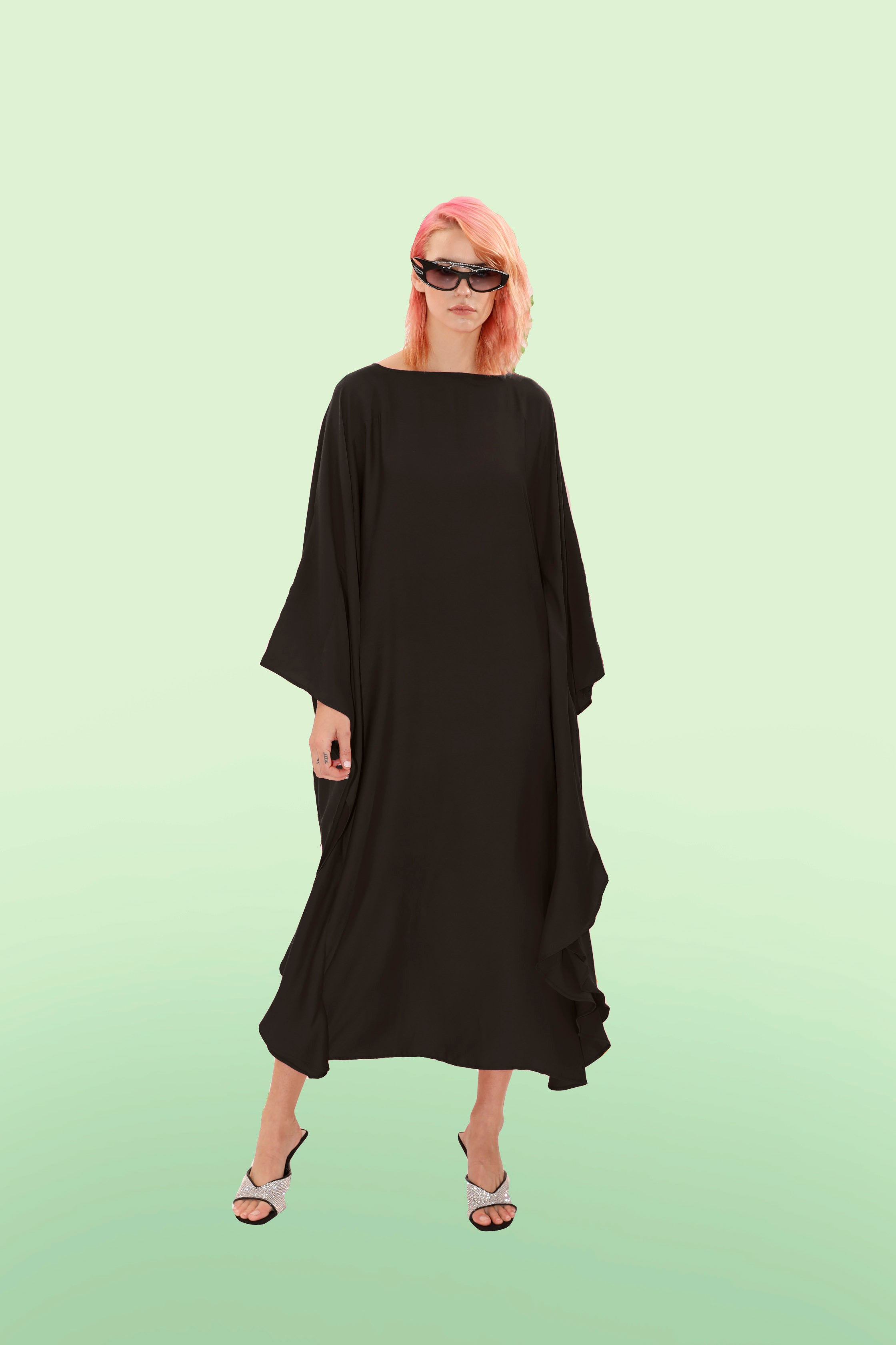 Black Rose Petal Silk Maxi Kaftan