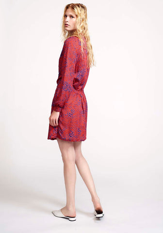 Red Drops Embroidered Dress