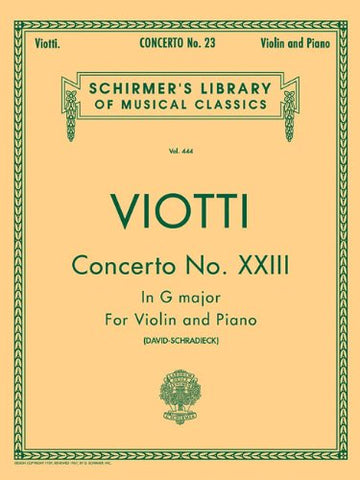 Concerto No. 23 in G Major: For Violin and Piano