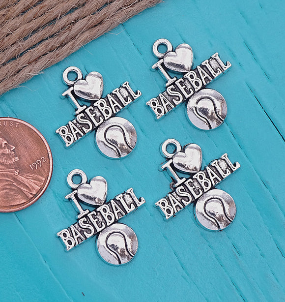 12 pc I love baseball charm, baseball Charm, baseball, Charms, wholesale charm, alloy charm