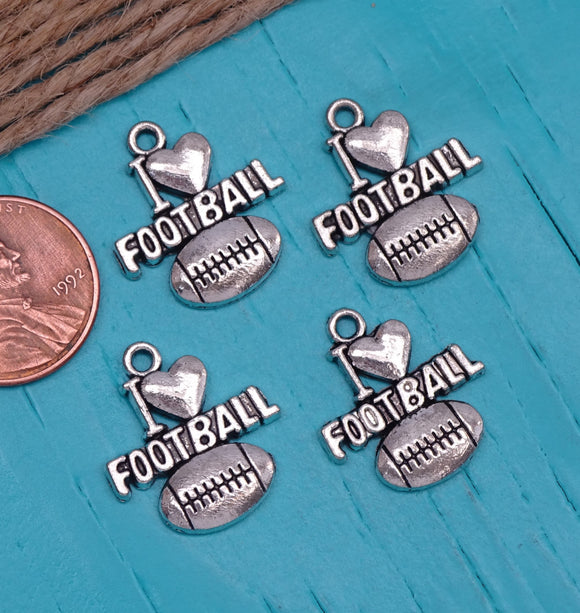 12 pc I love Football charm, football Charm, football, Charms, wholesale charm, alloy charm