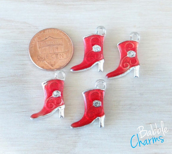 12 pc Cowboy Boot Charm, Red Cowboy boot, Cowgirl Boot Charm, Charms, wholesale charm