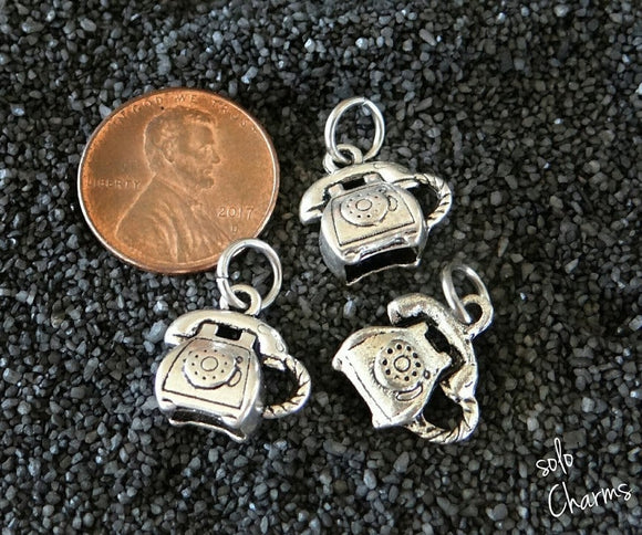 12 pc Telephone, alloy charm, Telephone charm, tele charm, charm, charms