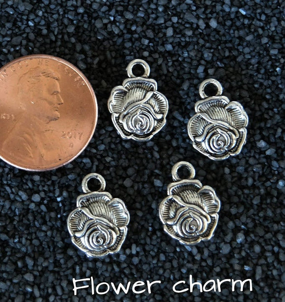 12 pcs Rose charm, Rose, Flower charm, alloy charm, charm, charms