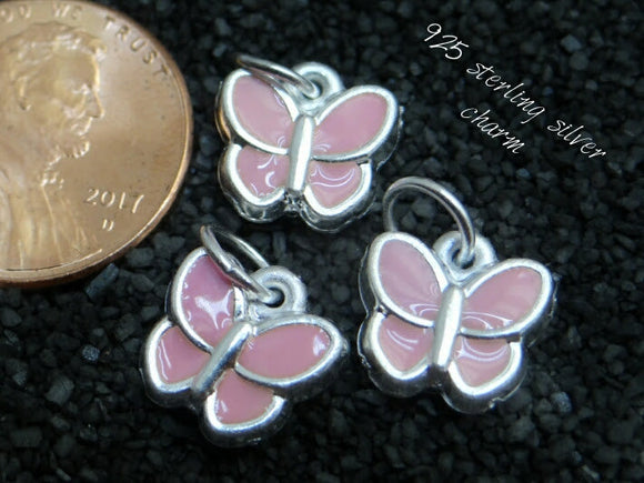 Sterling Silver pink butterfly charm, butterfly charm, sterling silver, high quality..Perfect for jewery making and other DIY projects