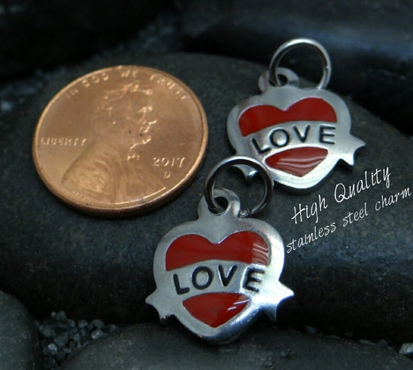 Heart charm, Love heart charm, steel charm 15mm very high quality..Perfect for jewery making and other DIY projects
