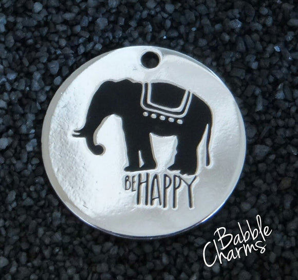 Be happy charm, be happy, elephant, boho charm, Alloy charm 20mm very high quality..Perfect for jewery making and other DIY projects #187