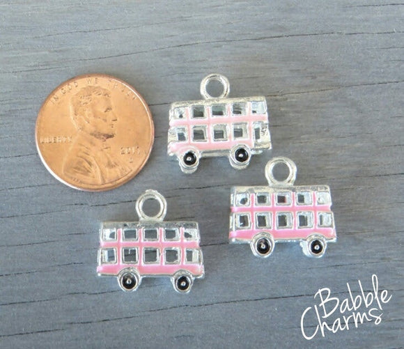 12 pc Double Decker Bus charm, cute bus Charm, bus, Charms, wholesale charm, alloy charm