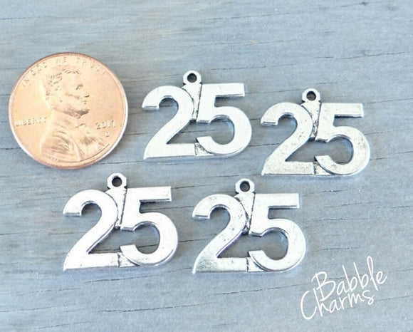 12 pc 25 charm , 25, number charm charm, 25 charm, Charm, Charms, wholesale charm, alloy charm