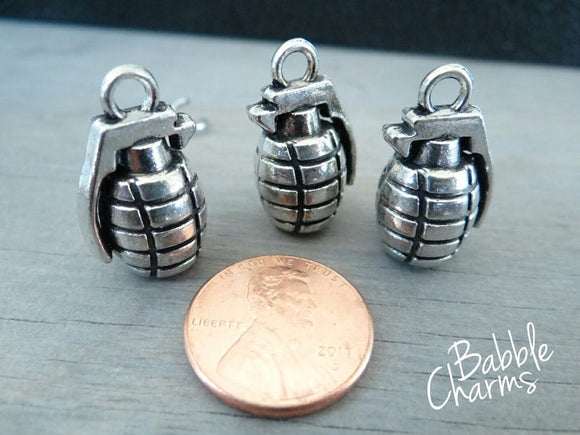 12 pc Grenade charm, grenade, grenades, alloy grenade charm, wholesale charm, alloy charm