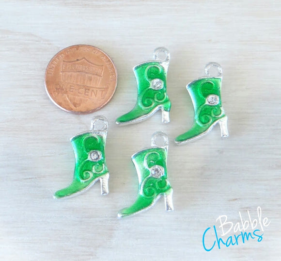 12 pc Cowboy Boot Charm, Green Cowboy boot, Cowgirl Boot Charm, Charms, wholesale charm