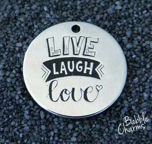 Live Laugh Love, love charm, Alloy charm 20mm very high quality..Perfect for jewery making and other DIY projects