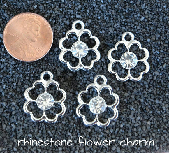 10 pc Flowers, Flower charm, alloy charm, charm, charms