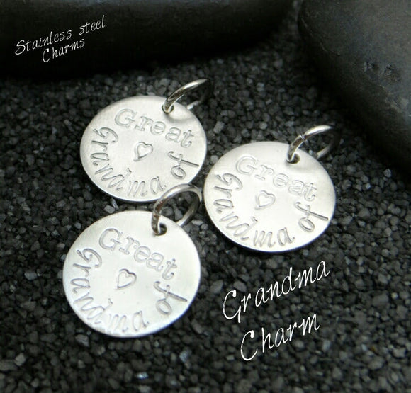 Great Grandma of charm, great grandma charm, steel charm 20mm very high quality..Perfect for jewery making and other DIY projects