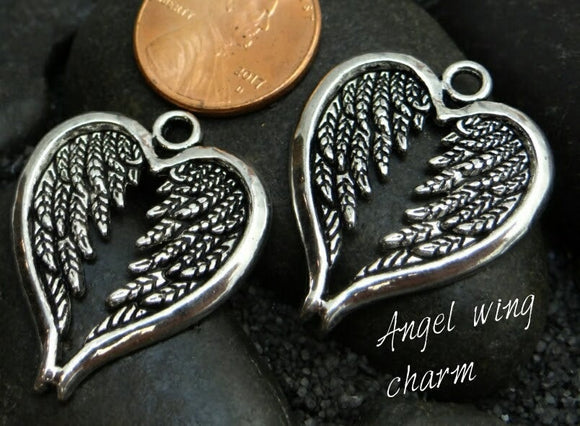 2 pc Angel wings , Angel wings charm, alloy charm, charm, charms