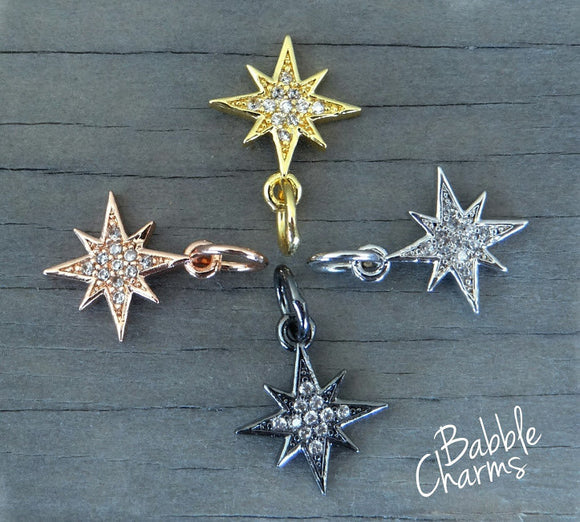 Cubic Zirconium star charm, CZ charm, stainless steel, high quality..Perfect for jewery making and other DIY projects