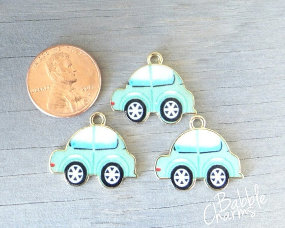 Car charm, green car car, travel, Charms, wholesale charm, alloy charm