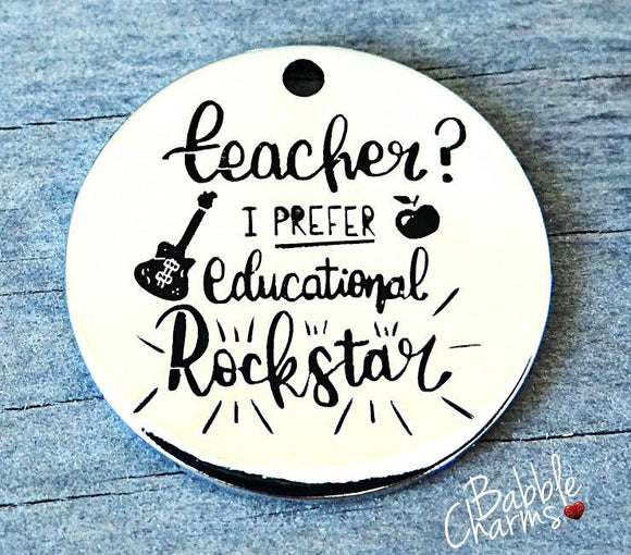 Teacher charm, educational rockstar, teacher, boho charm, Alloy charm 20mm high quality. Perfect for jewery making & other DIY projects #48