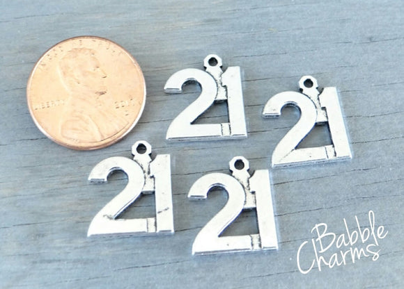 12 pc 21 charm , 21, number charm charm, 21 charm, Charm, Charms, wholesale charm, alloy charm