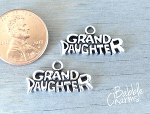 12 pc Grand Daughter charm , granddaughter, kids charm, daughter charm, Charm, Charms, wholesale charm, alloy charm
