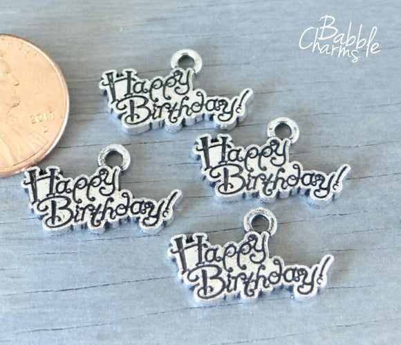 12 pc Happy Birthday charm , happy birthday, birthday, birthday charm, Charm, Charms, wholesale charm, alloy charm