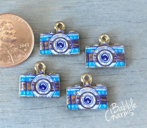 12 pc Camera charm , camera, blue camera charm, enamel charm, Charm, Charms, wholesale charm, alloy charm