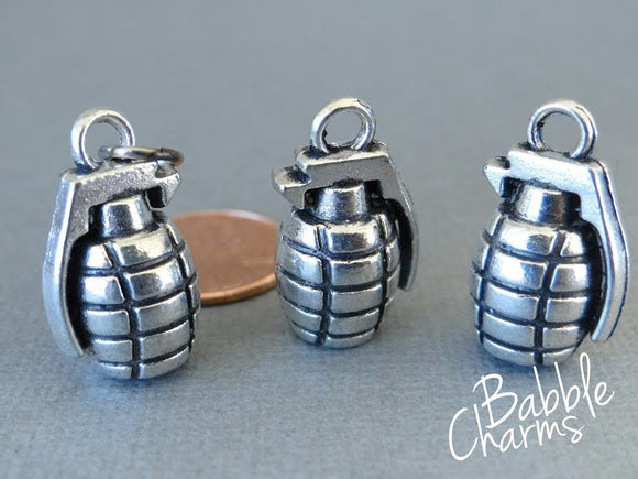 Grenade charm, grenade, grenades, alloy grenade charm, wholesale charm, alloy charm