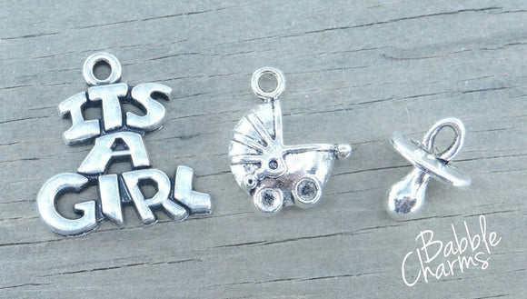 It's a girl charm, it's a girl, new baby charms. Alloy charm ,very high quality.Perfect for jewery making and other DIY projects