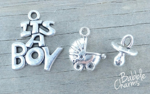 It's a boy charm, it's a boy, new baby charms. Alloy charm ,very high quality.Perfect for jewery making and other DIY projects