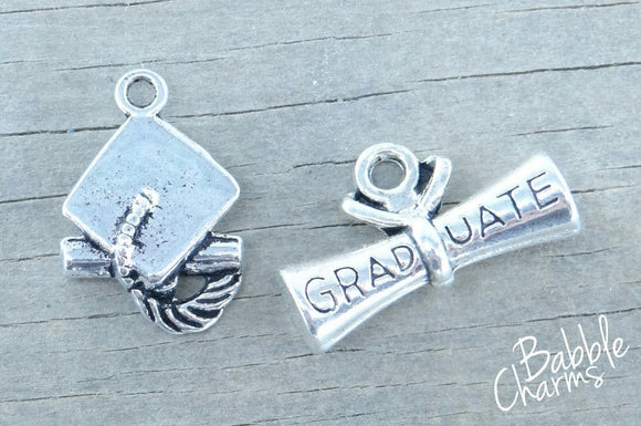 Graduation cap and Dipoma charm, graduation cap, graduation, Charms, wholesale charm, alloy charm