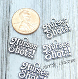 12 pc Nurses call the shots charm, nurse charms. Alloy charm, very high quality.Perfect for jewery making and other DIY projects