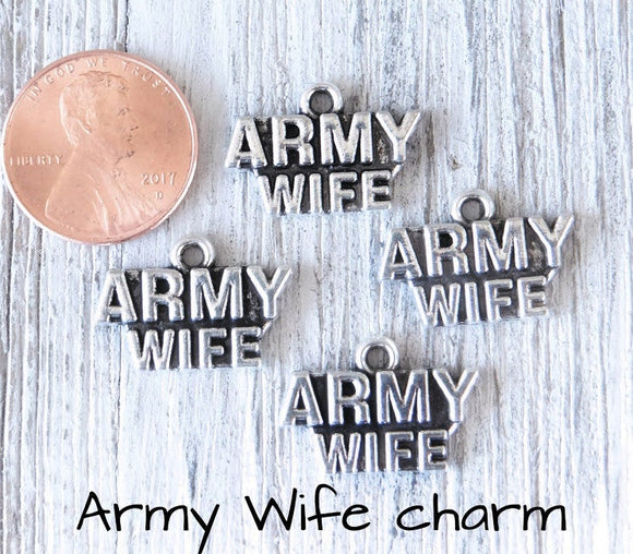 12 pc Army wife charm, army wife, army, military mom charm. Alloy charm, very high quality.Perfect for jewery making and other DIY projects
