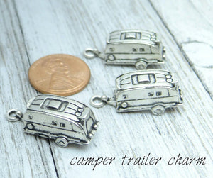 12 pc Camper charm, camping trailer, camper, Charms, wholesale charm, alloy charm