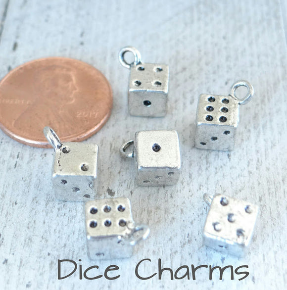 12 pc Dice charm, playing dice charm, dice charms, charms, Alloy charm,very high quality.Perfect for jewery making and other DIY projects